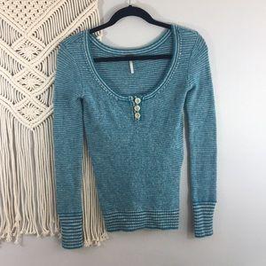 Free People wool blend Henley style sweater Sz S